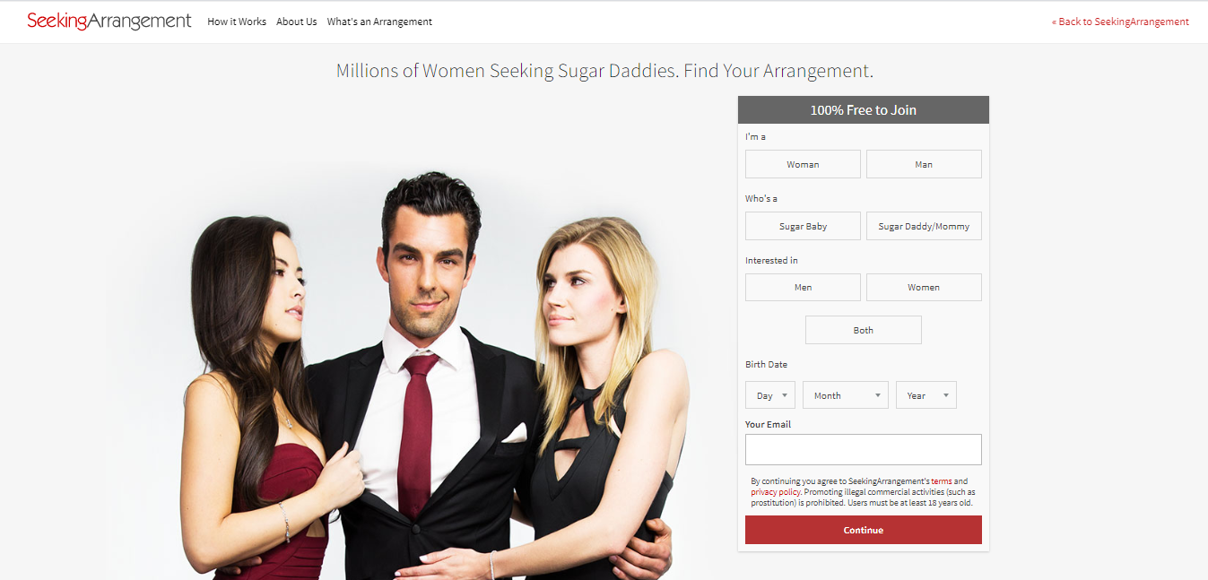 SeekingArrangement main page
