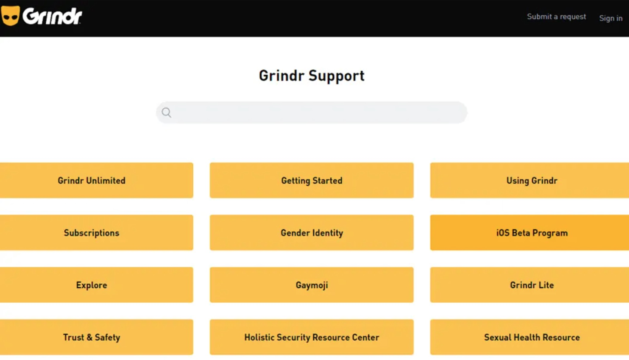 Grindr support
